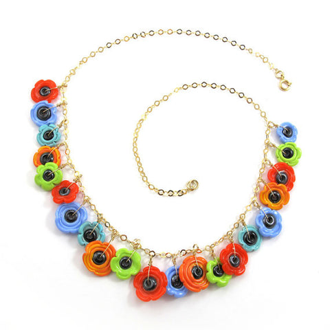 OOAK Lampwork Necklace, colorful flowers, 14k gold-filled|שרשרת פרחים צבעונית מזכוכית OOAK