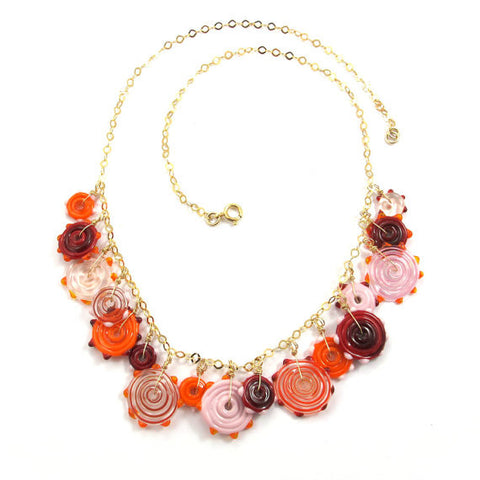 Lampwork Necklace, Candy, Limited Edition, 14k gold-filled|שרשרת זכוכית, ממתק, ליין מוגבל