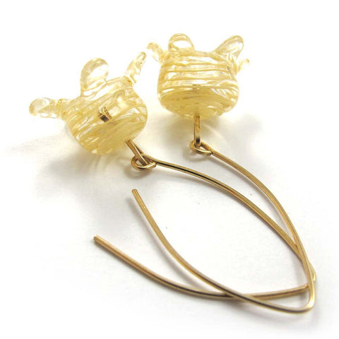 Lampwork Earrings, Ivory pomegranates, 14k gold-filled|עגילי רימון, שנהב