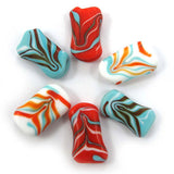 squeezed fractal beads,Candy (6) SRA|חרוזי זכוכית פרקטל