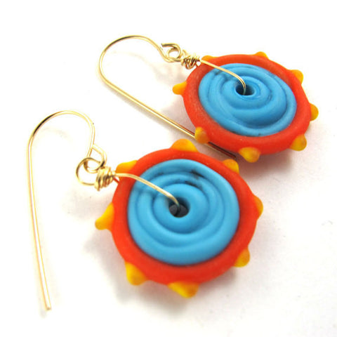 Lampwork Earrings, Sunset, 14k gold-filled|עגילים מזכוכית, שקיעה