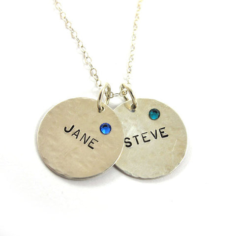 Two Personalized names and birthstones, Sterling silver|שרשרת 2 שמות עם אבני החודש מכסף סטרלינג