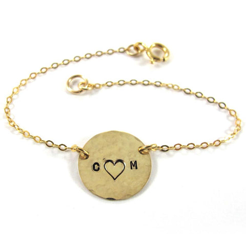 Personalized Love bracelet, Meshi, 14k Gold-filled|צמיד אותיות עם לב, משי מגולדפילד 14 קראט