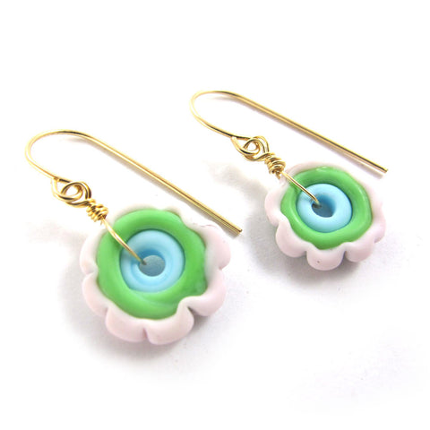 Lampwork Earrings, Pastel, 14k gold-filled|עגילים פרח מזכוכית בגווני פסטל