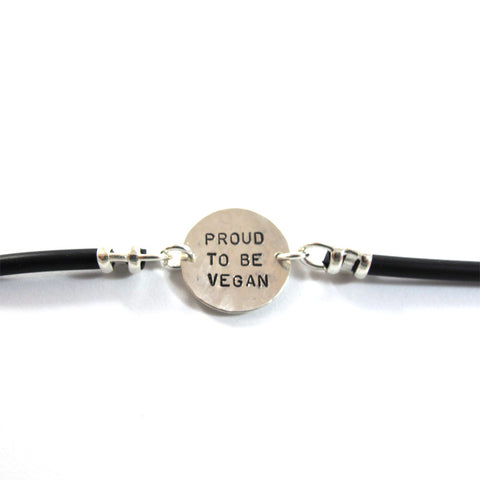Proud to be Vegan Silicon bracelet, Sterling Silver|צמיד גאה להיות טבעוני ,סיליקון,כסף