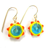 Lampwork Earrings, Sunshine, 14k gold-filled|עגילים מזכוכית, שמש