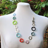 Lampwork circles Necklace, silver|שרשרת מעגלים, כסף OOAK