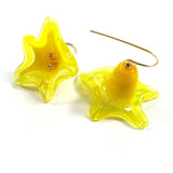 Yellow Lampwork Earrings, 14k gold-filled|עגילי פעמונים צהובים