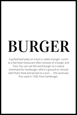 Burger definition plakat