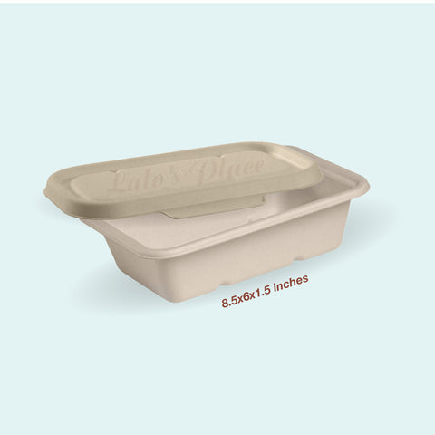 Sugarcane Rectangle Container w/ Lid 750ml