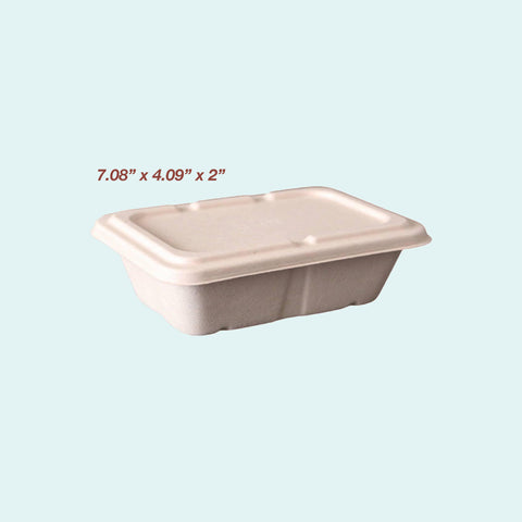 Sugarcane Deep Rectangle Container w/ Lid 650ml