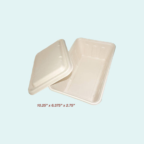 Sugarcane Party Size Rectangle Meal Box w/ Lid 3000ml