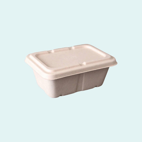 Sugarcane Deep Rectangle Container w/ Lid 950ml