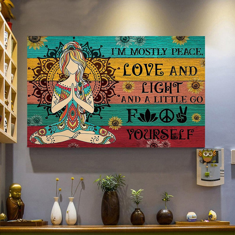"Peace Love Wall Art Canvas Peace Love Wall Art Canvas - AVAOASIS 12""x8"""