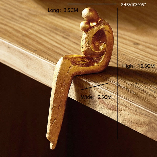 Nordic Style Love Family Figurines Nordic Style Love Family Figurines - AVAOASIS Hold a Child Golden