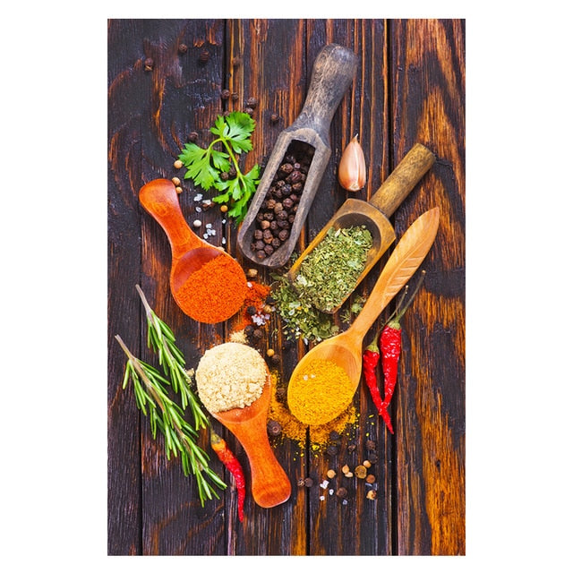 Kitchen Theme Mix Herb and Spices Canvas Painting Wall Art Kitchen Theme Mix Herb and Spices Canvas Painting Wall Art - AVAOASISCanvas 70X100cm / DM715-9
