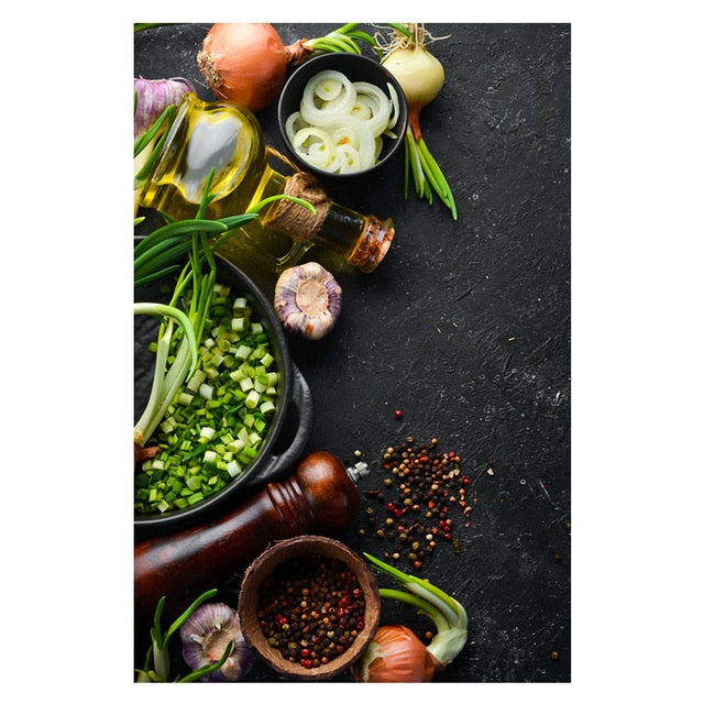 Kitchen Theme Mix Herb and Spices Canvas Painting Wall Art Kitchen Theme Mix Herb and Spices Canvas Painting Wall Art - AVAOASISCanvas 70X100cm / DM715-11