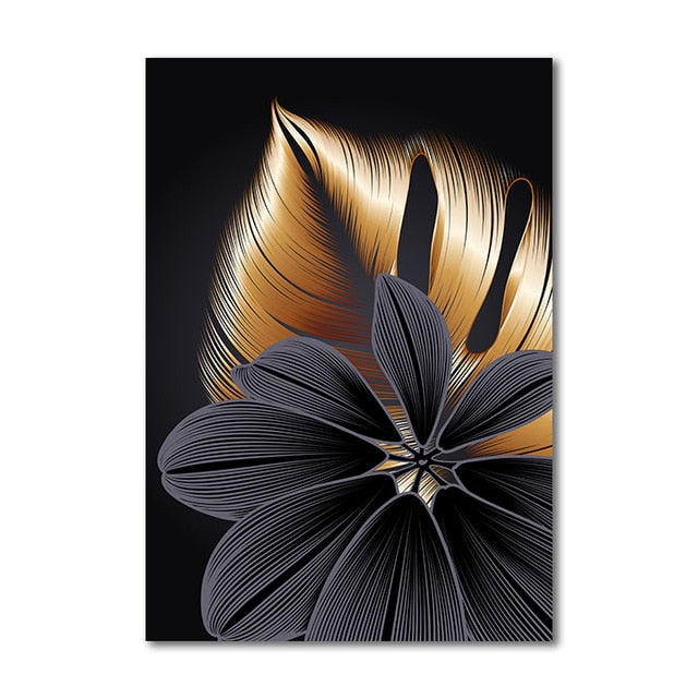 "Black Golden Plant Leaf Canvas Wall Art Success Black Golden Plant Leaf Canvas Wall Art Success - AVAOASIS 30x40cm / 12x16"" / A"