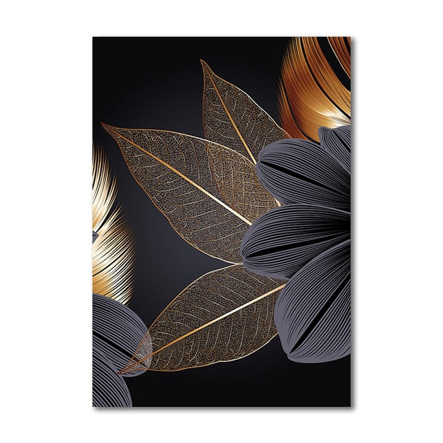 "Black Golden Plant Leaf Canvas Wall Art Success Black Golden Plant Leaf Canvas Wall Art Success - AVAOASIS 30x40cm / 12x16"" / B"
