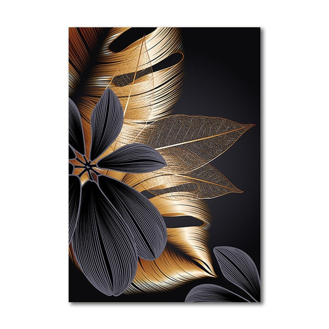 "Black Golden Plant Leaf Canvas Wall Art Success Black Golden Plant Leaf Canvas Wall Art Success - AVAOASIS 30x40cm / 12x16"" / C"