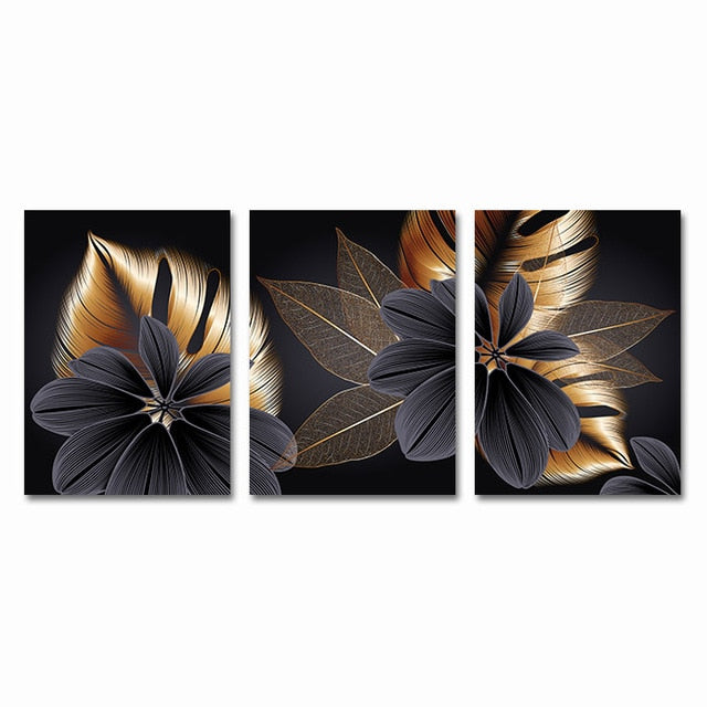 "Black Golden Plant Leaf Canvas Wall Art Success Black Golden Plant Leaf Canvas Wall Art Success - AVAOASIS 30x40cm / 12x16"" / 3PCS"