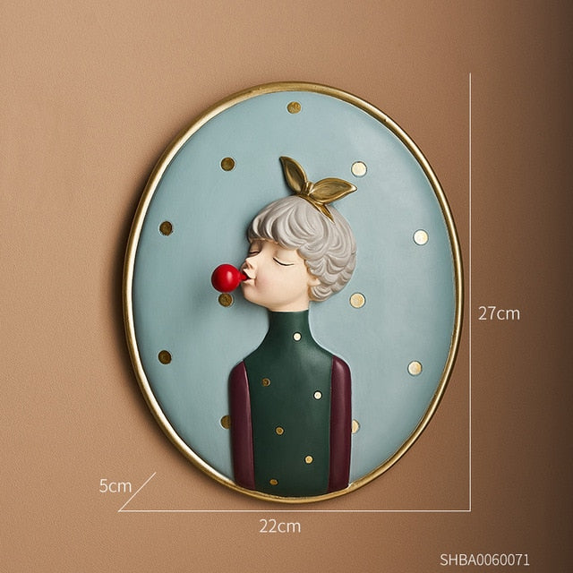 Nordic Bubble Girl Decorative Painting Nordic Bubble Girl Decorative Painting - AVAOASIS Golden bow girl