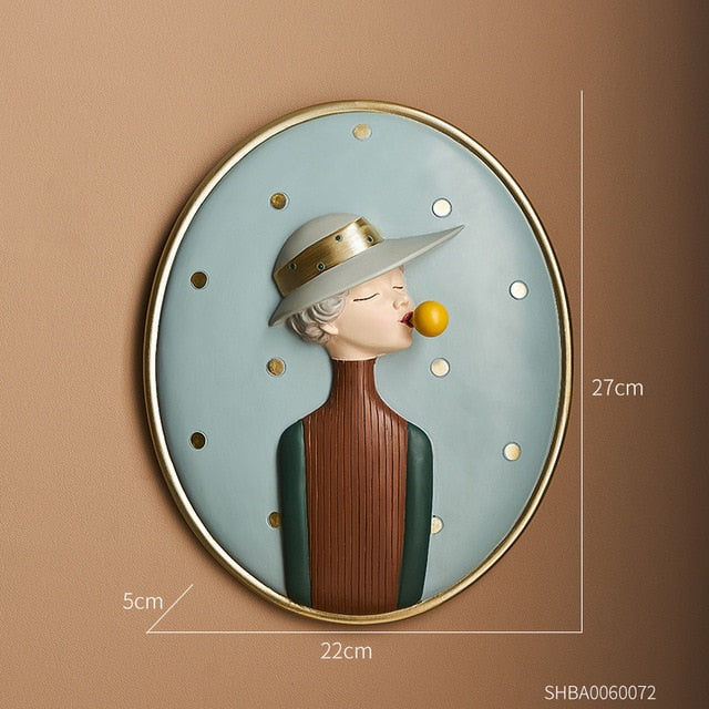 Nordic Bubble Girl Decorative Painting Nordic Bubble Girl Decorative Painting - AVAOASIS Girl in hat 1
