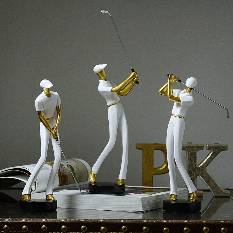 MODERN SWINGING GOLFER FIGURINES MODERN SWINGING GOLFER FIGURINES - AVAOASIS Set of 3 white