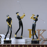 MODERN SWINGING GOLFER FIGURINES MODERN SWINGING GOLFER FIGURINES - AVAOASIS Set of 3 Black