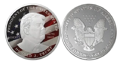 Limited Edition Red & Blue Silver Plated Trump Coin