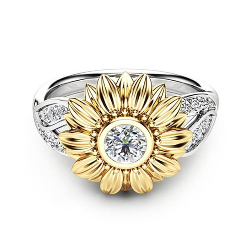 New gold-plated couple ring sunflower flower color separation zircon ring