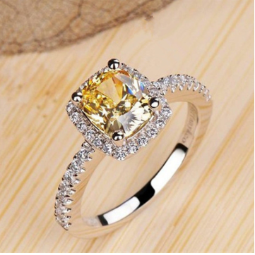 Square zircon ring