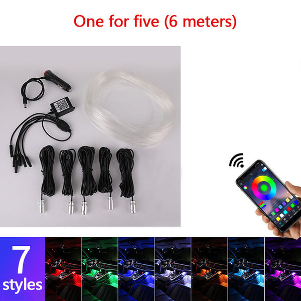 Car Atmosphere Neon RGB Lights Wire Strip - Multiple Modes App Control through phone