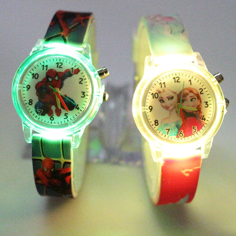 Princess Elsa/Spiderman Children Watches Colorful Light Source