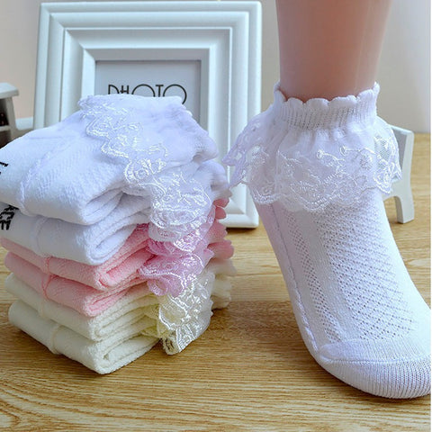 KIds Breathable Cotton Lace Mesh Socks Ankle Short Sock