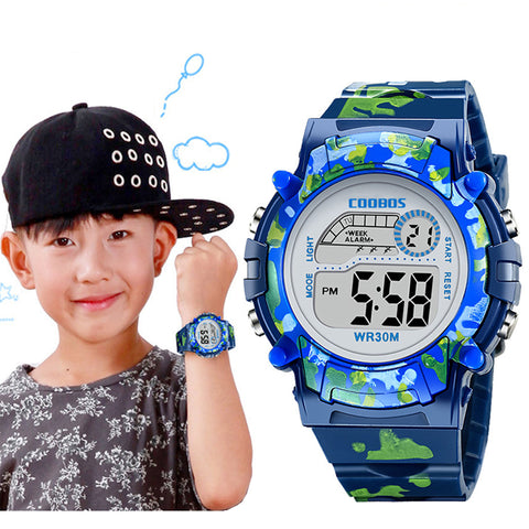 LED Colorful Navy Blue Camouflage Kids Watches