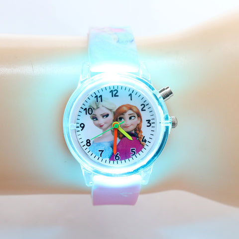 Princess Elsa/Spiderman Colorful Light Children Watches