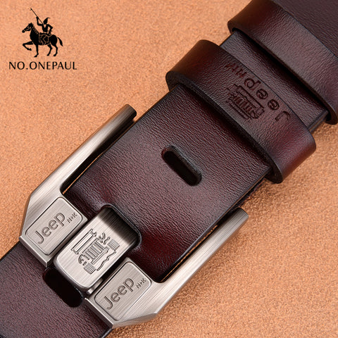 NO.ONEPAUL High Quality Black Buckle Genuine Leather Belt For Men
