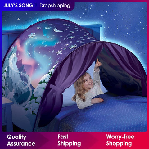 Kids Dream Tents - Fashionable Printing with Fantasy Cartoon Snowy themes, Foldable Playhouse Sleeping mosquito net