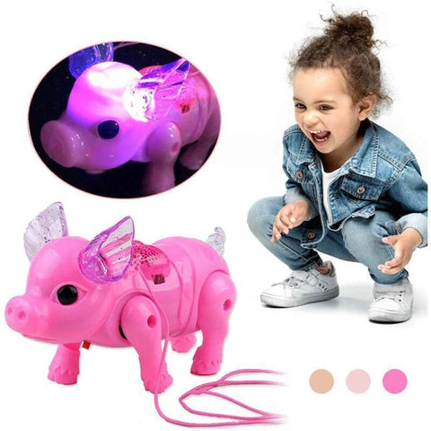 2020 New Pink Color Electric Walking Pig Toy With Light Music for kids