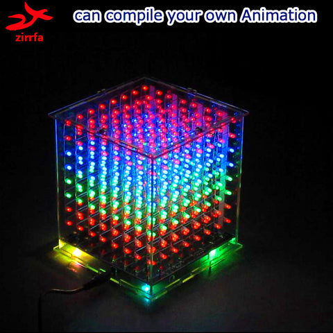 3D multicolor led light cubeeds kit with Excellent animations DIY 8x8x8 gift led display