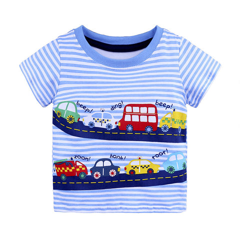 Toddler Baby Boys Cotton Short Sleeve O-Neck Pullover T-Shirts