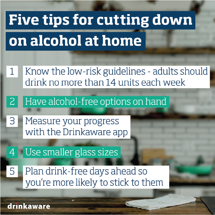 Five tips for cutting down on alcohol at home | free social media asset