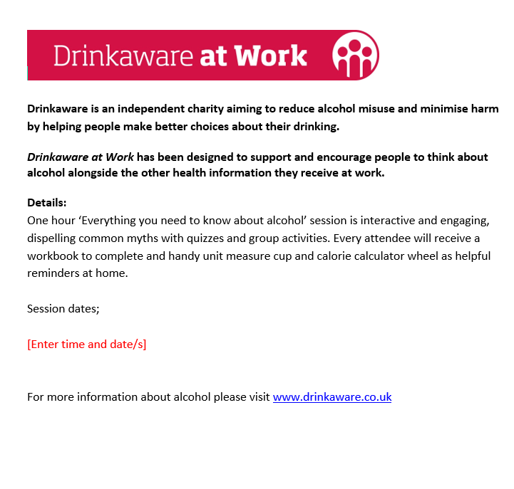 Drinkaware at Work internal promo copy
