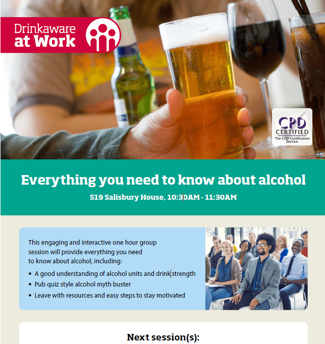 Internal Drinkaware at Work promotion poster