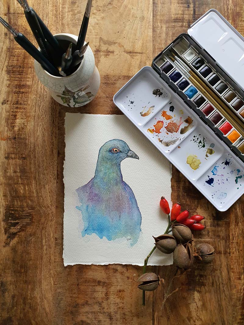 Celtic bird: pigeon a5