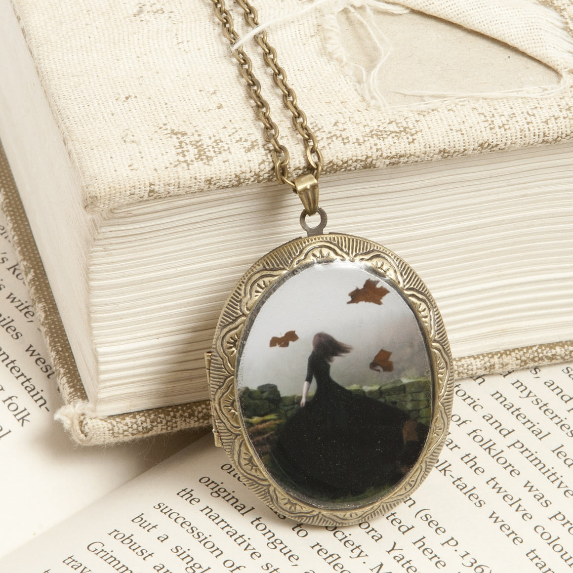"""Like Ghosts from an Enchanter Fleeing"" Locket Necklace"