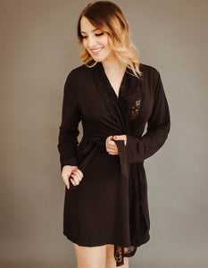 All Lace Robe (Black W/Black Lace)