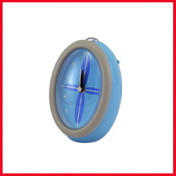 Oval Analog Alarm Clock Blue/Grey