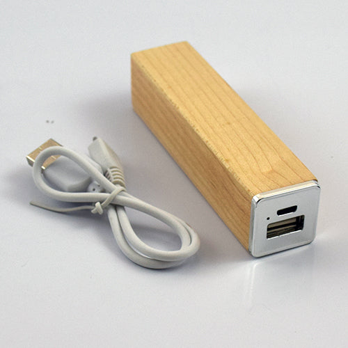 Wooden Rectangle Power Bank 2600 MAH.